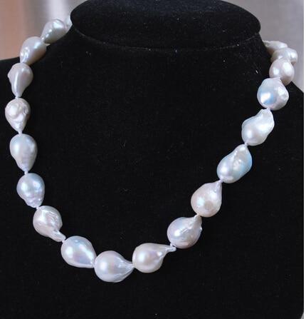 "Collar de perlas barrocas Akoya blancas naturales de 12-16mm 18 ""> Joyería bonita de boda para mujer"