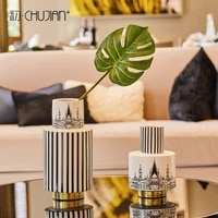 ceramic creative nordic building flowers vase home decor crafts room decoration objects office study parlor dried flower vase