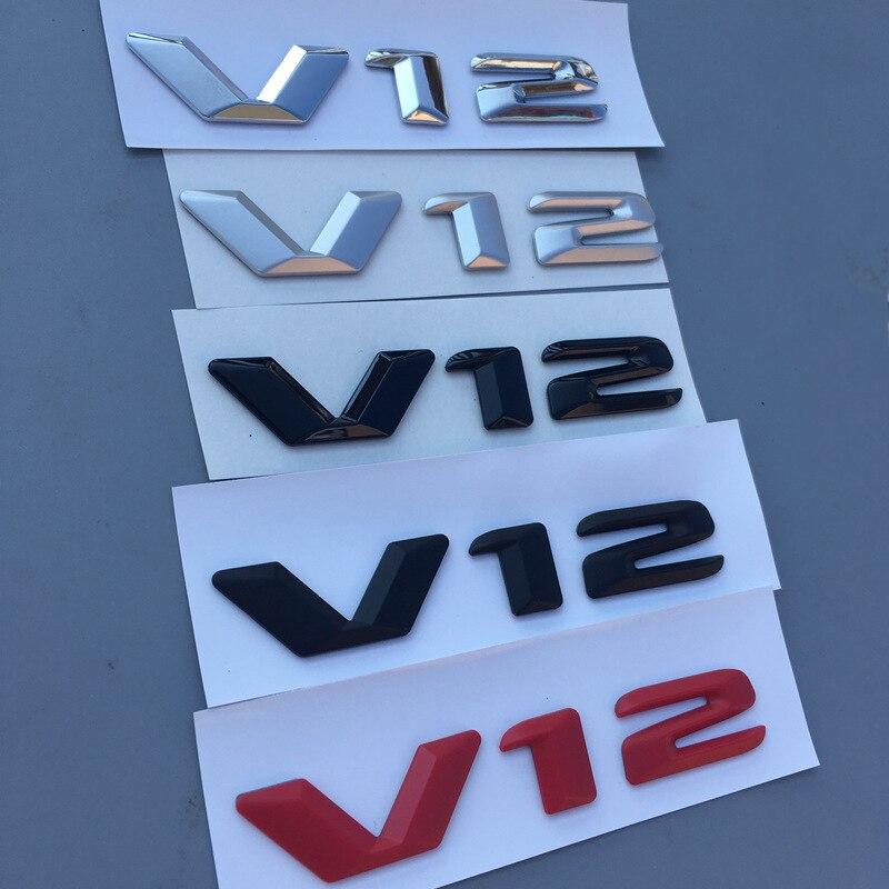 Etiqueta engomada brillante y mate negro plata rojo V12 de la placa del guardabarros de la descarga lateral del logotipo del coche que diseña la etiqueta engomada de recambio para Mercedes Benz
