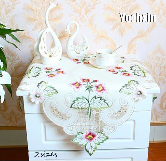 Mantel cuadrado de satén de encaje moderno, mantel bordado, cocina, té, cubierta de la mesa de café, paño, fiesta de Navidad, decoración de boda, hogar