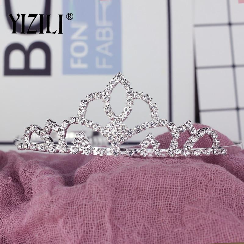 YIZILI brillo de diamantes de imitación de cristal chico s corona chicas con peine chico corona fiesta Show accesorios de fiesta de la princesa corona diadema C034