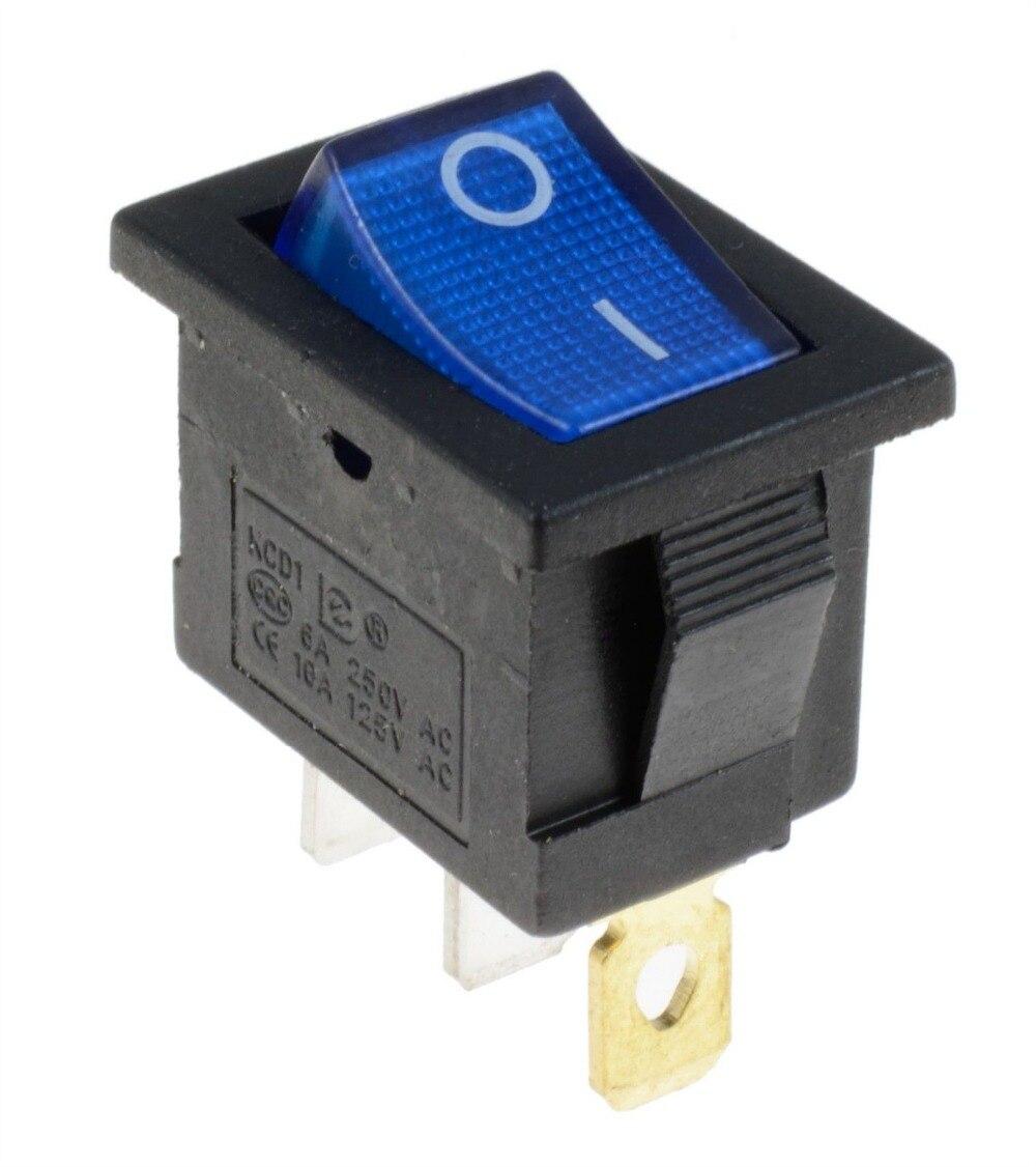 5 pcs KCD1 3 pés ON/OFF Azul iluminado LED Retângulo Rocker Switch Painel Do Carro Automotive SPST 6A 250 v/10A 125 v