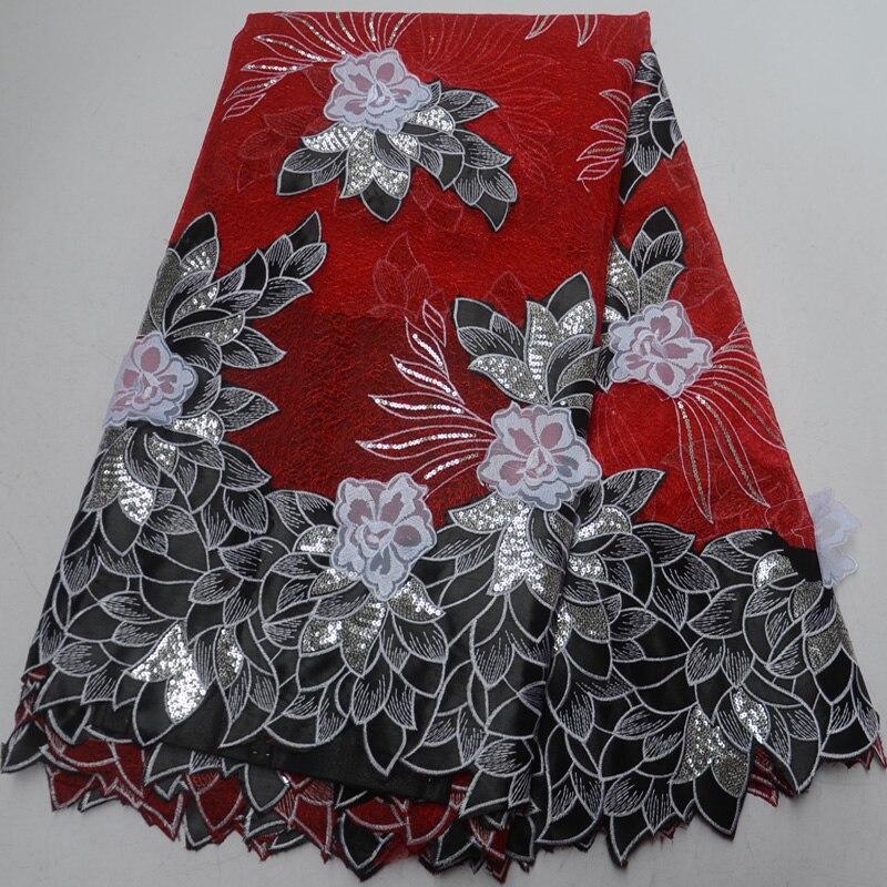 Envío gratis (5 yardas/pc) nueva llegada organza Africana tela de encaje con maravillosas flores 3D y lentejuelas para vestido de fiesta OP51