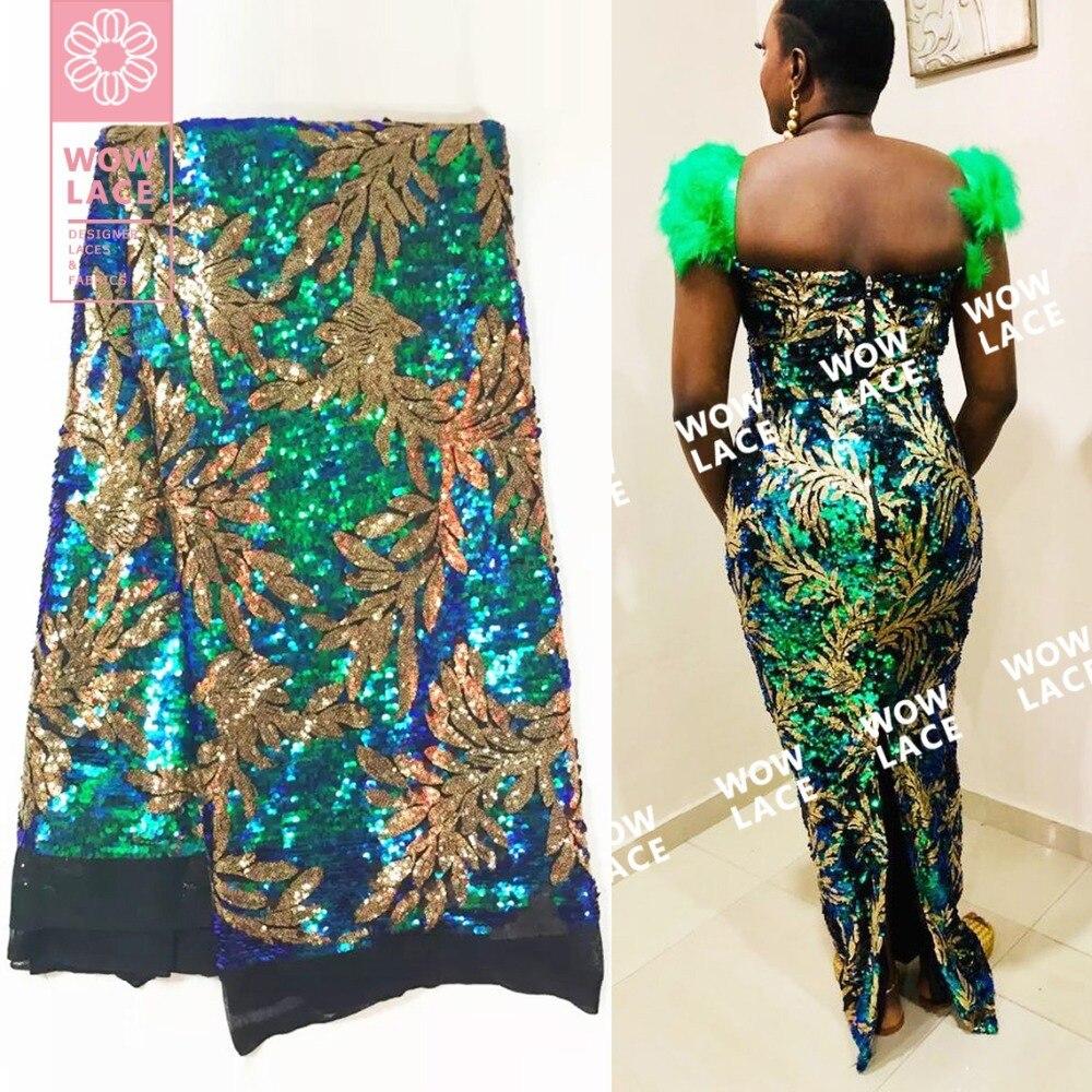 Diseño de patrón de hojas telas de encaje de red de lentejuelas africanas verde y dorado con lentejuelas bordadas malla nigeriana 2019 vestidos de encaje de boda