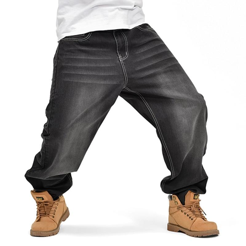 With Big Pocket Loose Jeans For Men Hip Hop Baggy Jeans Denim Harem Trousers Plus Size 30 - 42 44 46