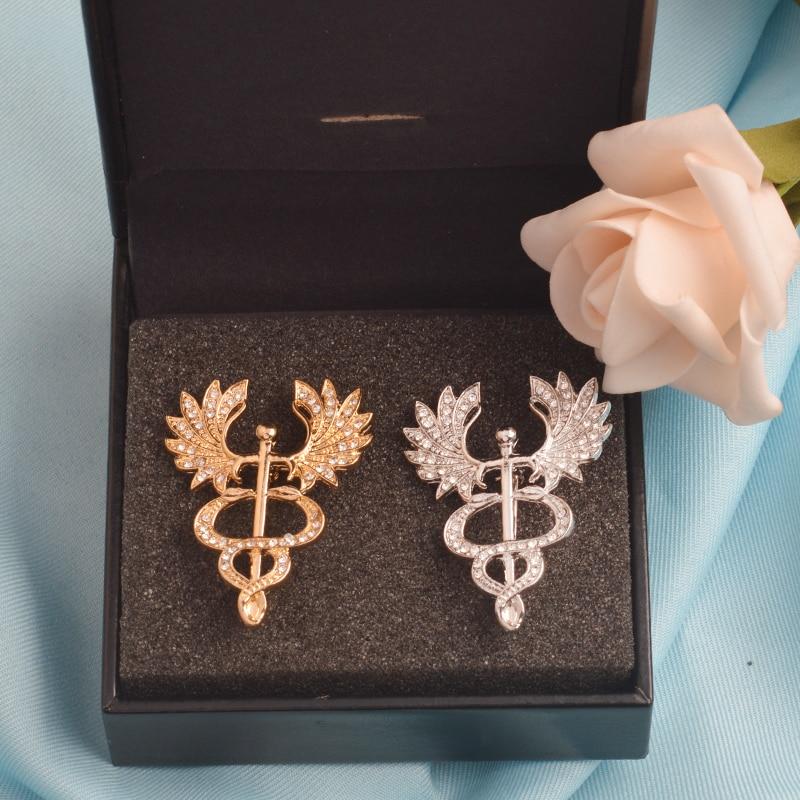 Broche com símbolo de anjo branco, joias médicos presente para médico, enfermeira, joias, presente para estudante