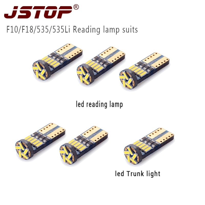 JSTOP 6 unid/set F10 F18 535 535Li, luces de lectura led de alta calidad 6000K canbus 12V, lámpara de luz de maletero T10 w5w, bombillas de lectura led
