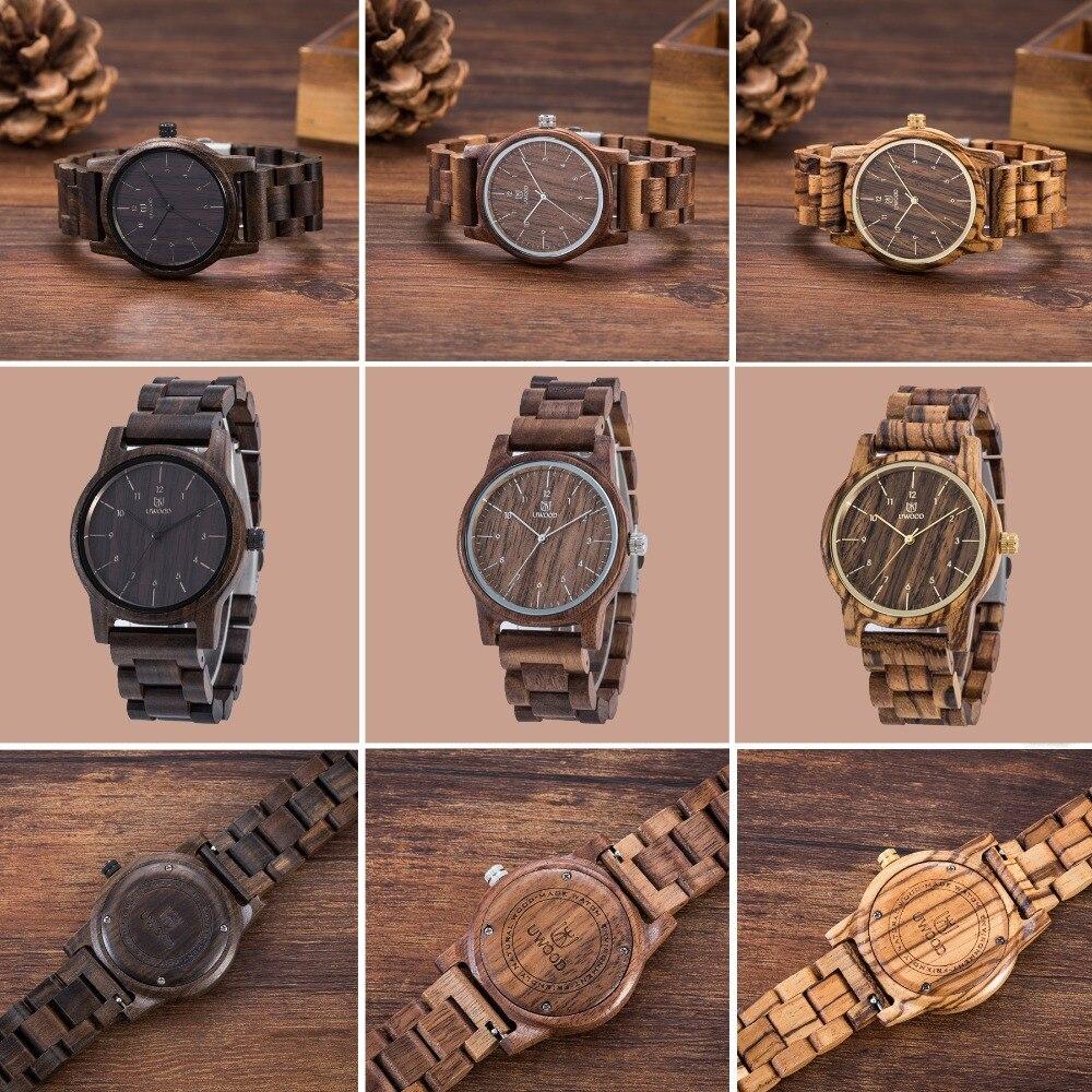 Marca de luxo masculino relógios de madeira moda uwood 100% natural nogueira sândalo relógio de pulso relógio de madeira casual para mulheres masculinas unissex