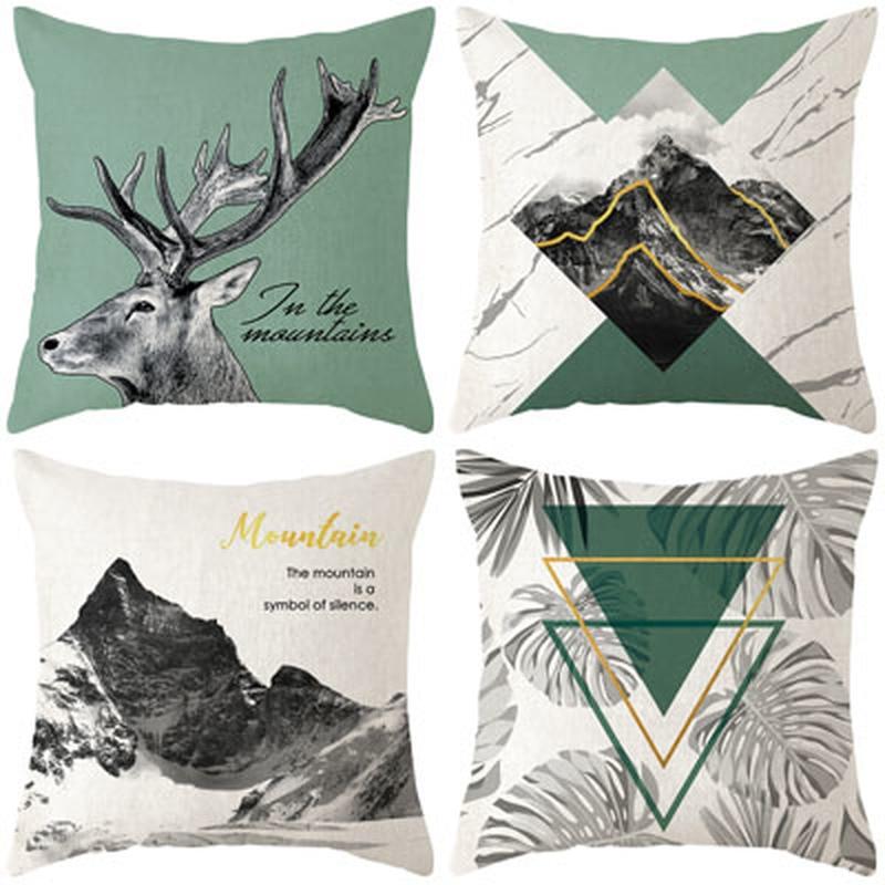 Скандинавские светло-зеленые льняные домашние наволочки для дивана, наволочки для кровати, наволочки в клетку с лосем, декоративная подушка для гостиной