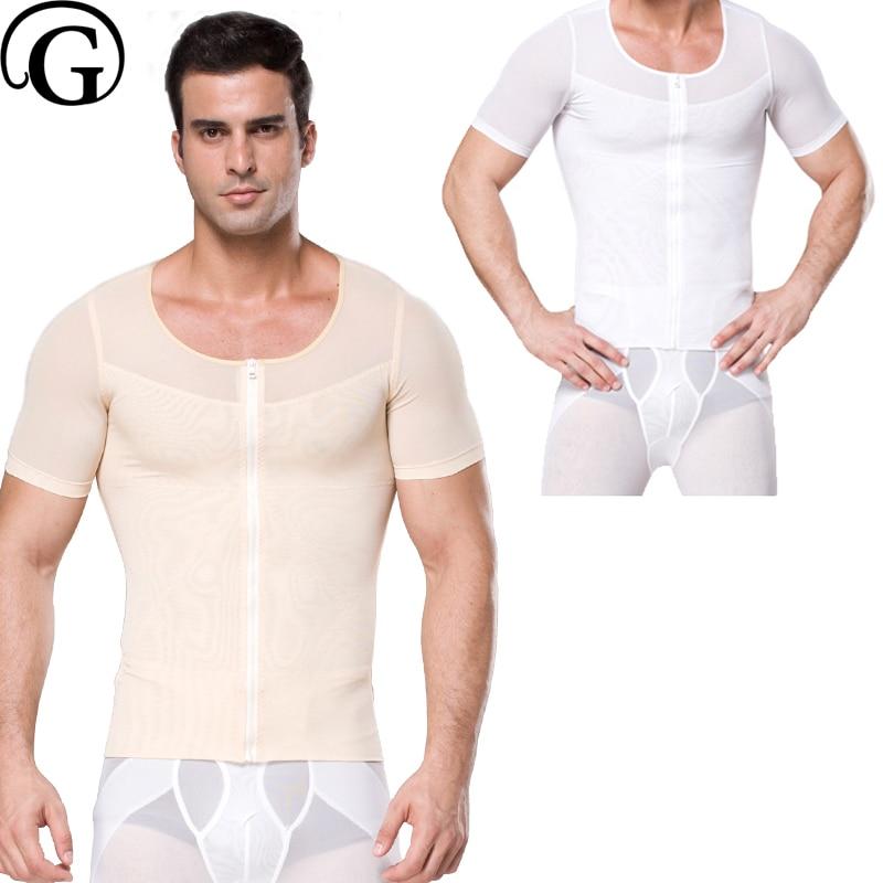 PRAYGER 100pcs Men Compression Boobs Shaper Slimming Waist Trainer Tops Wholesale Mesh Control Belly TShirts Stomach Underwear