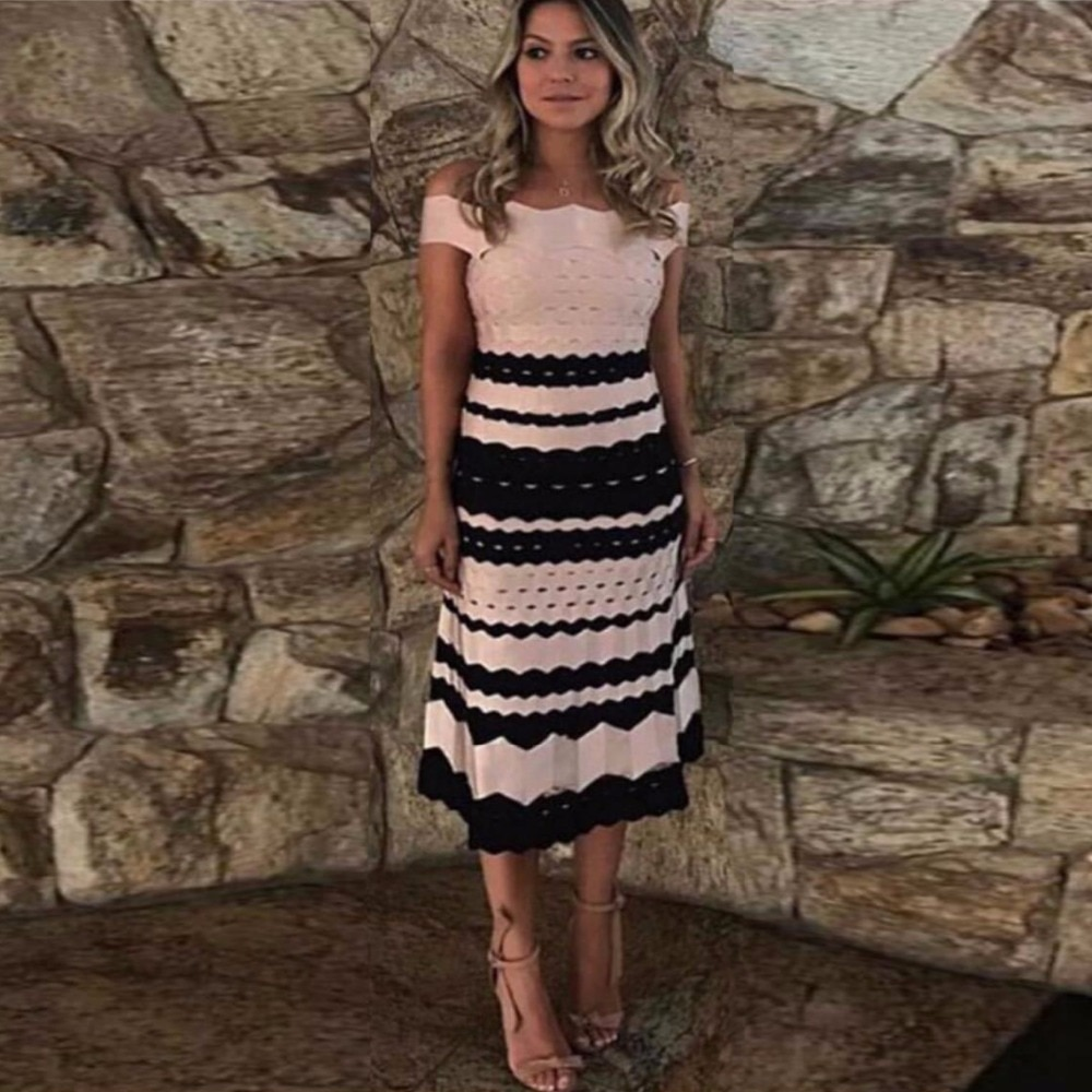 Celebrity Top Quality Pink Striped Slash Neck Rayon Long Aline Bandage Dress Cocktail Party Dress