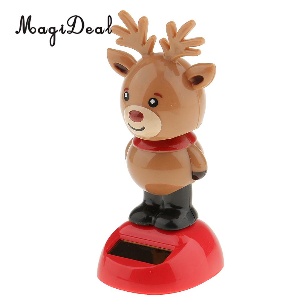 MagiDeal marrón con energía Solar Bobbling baile Reno figura de juguete coche hogar escritorio decoración regalo