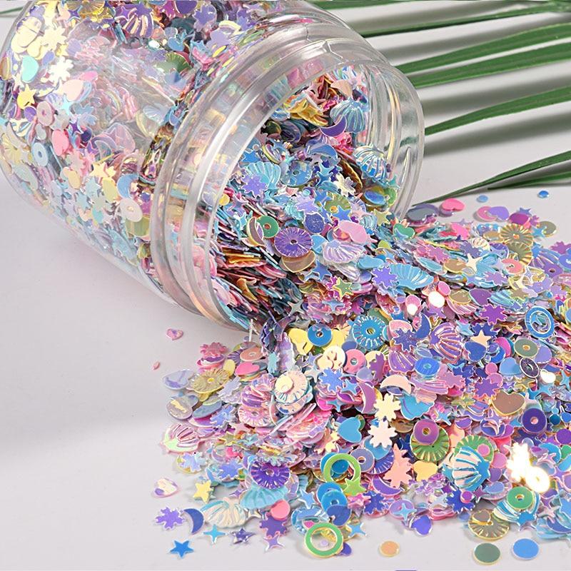 10 gr/paket Mix Makronen Farben Nagel Pailletten Für Handwerk Glitzernde Sterne Herz Sakura Pailletten Pailletten DIY Maniküre Nail art Decor