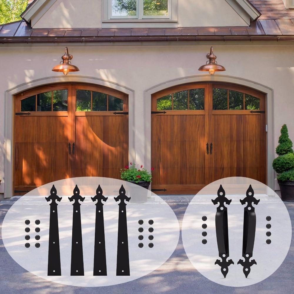 LWZH Decorative Carriage House Garage Handle Hinge Accent Set Sliding Barn Door Hardware Kit Arrow Style 2 Handles 4 Hinges