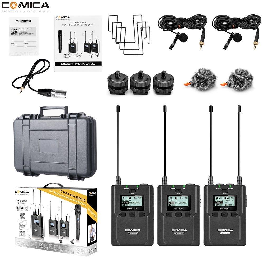 Comica CVM-WM200 (أ) 96-قناة ميكروفون تسجيل مكثف ميكروفون لاسلكي المهنية اللاسلكية mic Lavalier ميكروفون