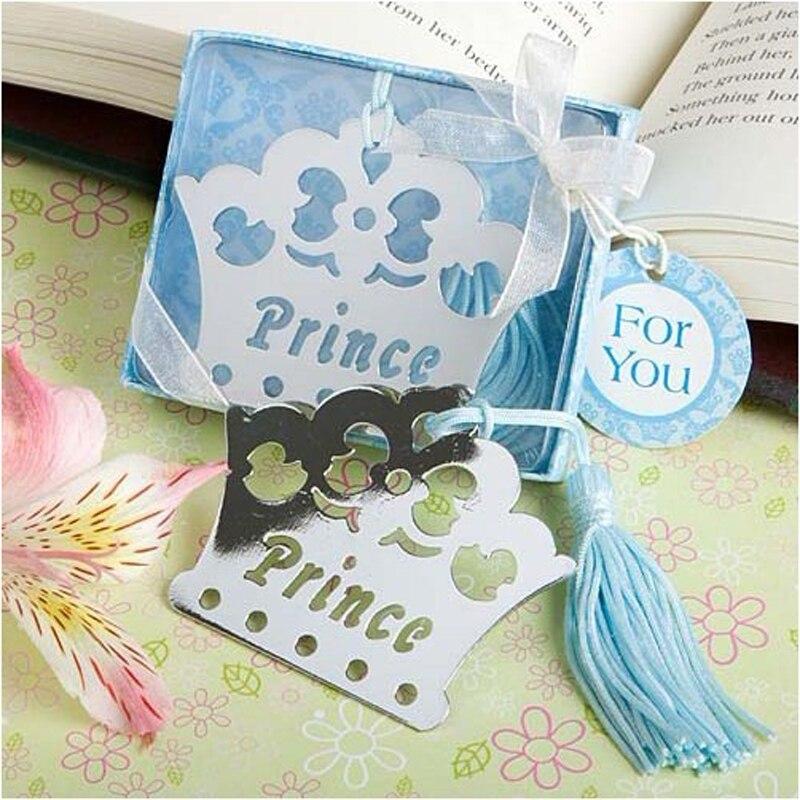 100 PCS Rosa ou Azul Princesa Príncipe Coroa Bookmarks De Metal Lembranças Do Chuveiro de Bebê Aniversário Favores e Presentes de Casamento Para Convidado