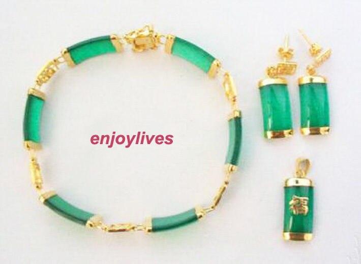 Novo Estilo de venda Quente *** Amarelo Chapeado Sorte Pingente de jade Verde Colar Pulseira Brincos Set Festa de Casamento Moda Jóias