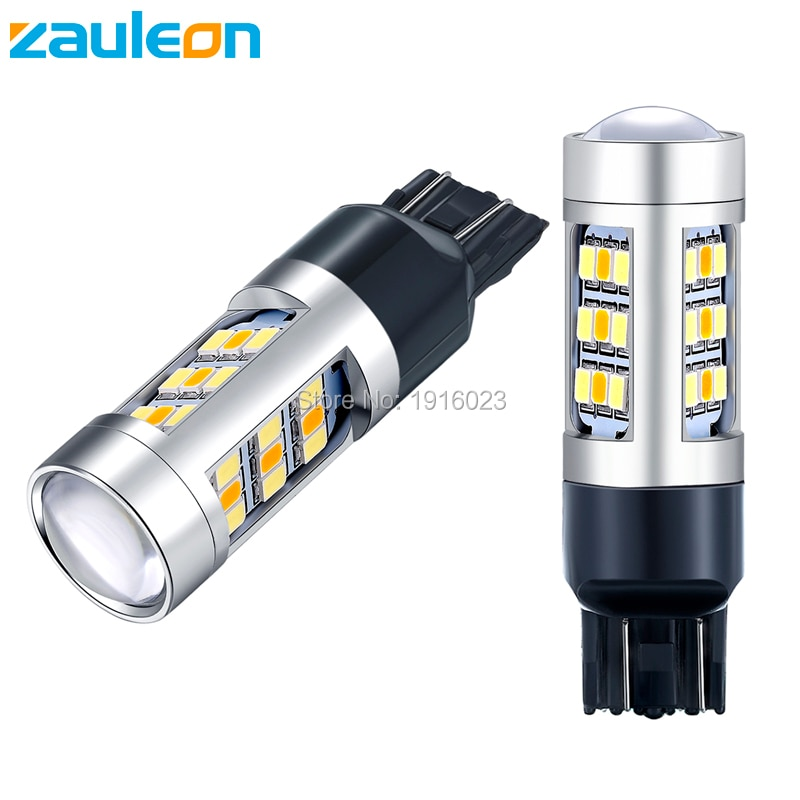 Zauleon 2 pçs super brilhante cor dupla branco amarelo t20 7443 led switchback bulbo para transformar a luz do sinal + drl carro-estilo 12 v