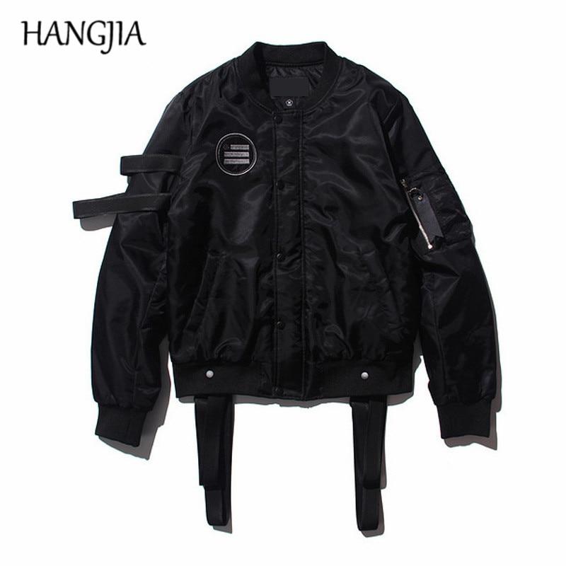Black Strap MA-1 Bomber Jackets Men Streetwear Detachable Ribbons Baseball Jacket Cotton-padded Mens Punk Jackets and Coats