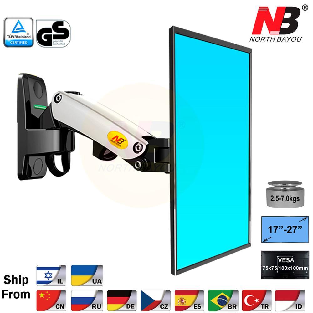 "NB F120 17-27 ""Gas Spring movimiento completo Pared de TV montaje LCD Monitor titular de aluminio soporte de brazo negro plateado"