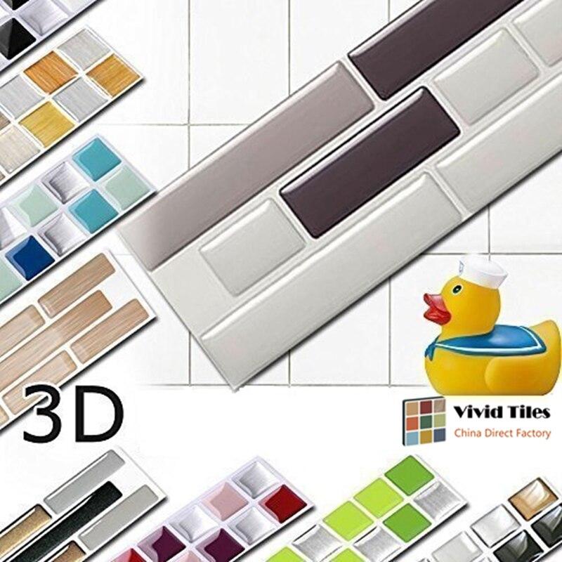 Vividtiles Wood Effect Self Adhsive Decor Wallpaper 3d Bathroom & Kitchen Waterproof Mosaic DIY Tile Sticker- 6 Sheet