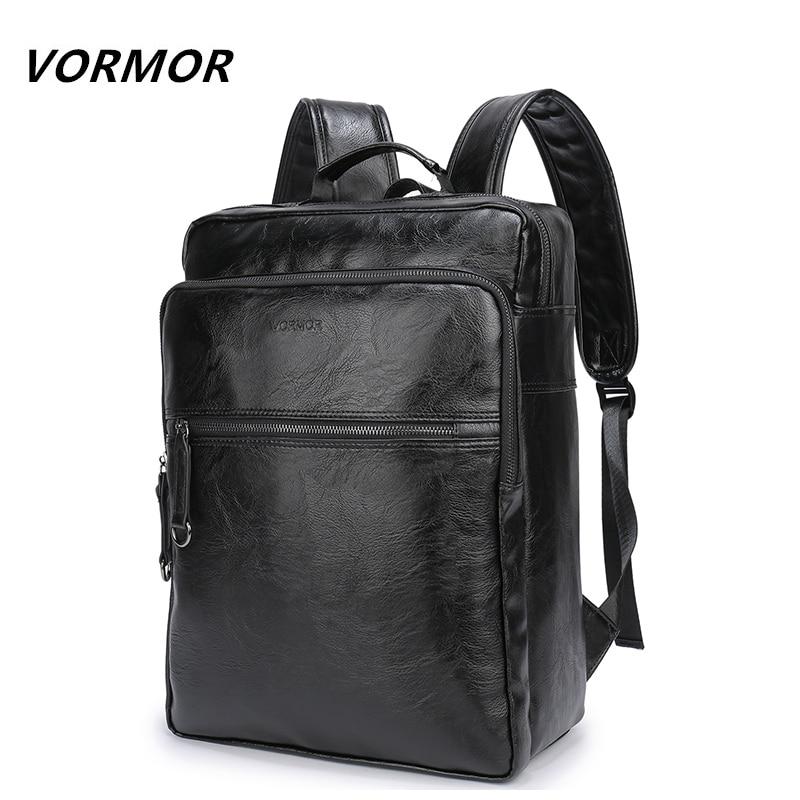 2021 VORMOR العلامة التجارية مقاوم للماء 15.6 بوصة محمول على ظهره الرجال بولي PU حقيبة ظهر مصنوعة من الجلد للمراهقين الرجال عادية daypack mochila الذكور