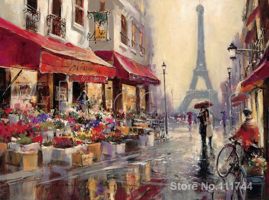 Galería de Arte en línea abril en París Brent heghton paisaje moderno de alta calidad pintado a mano