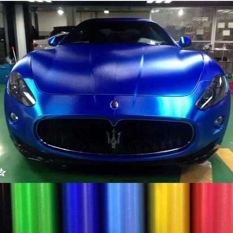 50*200 Metallic Brushed Car Body Film Metal Car Wrap Film Vinyl Car Sticker Styling Auto Foil Decoration Blue Purple Green Gold