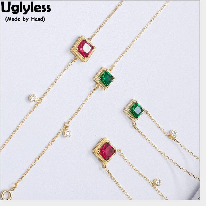 Uglyless, Plata de Ley 925 auténtica, pulseras cuadradas para mujeres, bonita pulsera de circón verde rosa, placa geométrica de oro, joyería fina