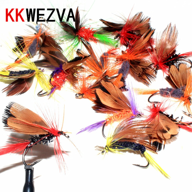 KKWEZVA 24pcs Fly fishing Lure Hooks Butterfly Insects Style Salmon Flies Trout Single Dry Fishing Lures Tackle