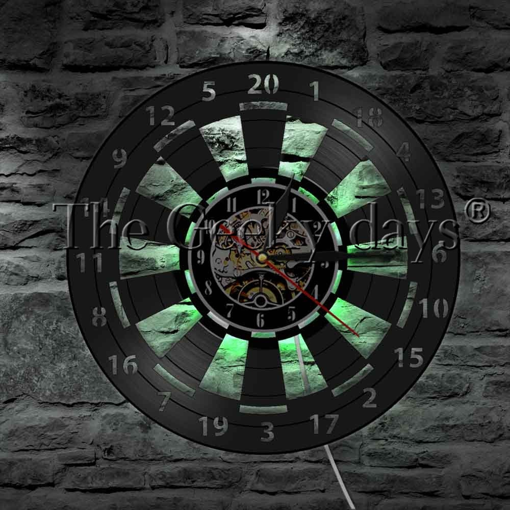 Spiel Zimmer Dart Board Darts Spiel Vinyl Record Wanduhr Moderne Design Pfeile Ziel Spiel Bar Pub Mann Höhle Wand decor LED Nacht Lampe