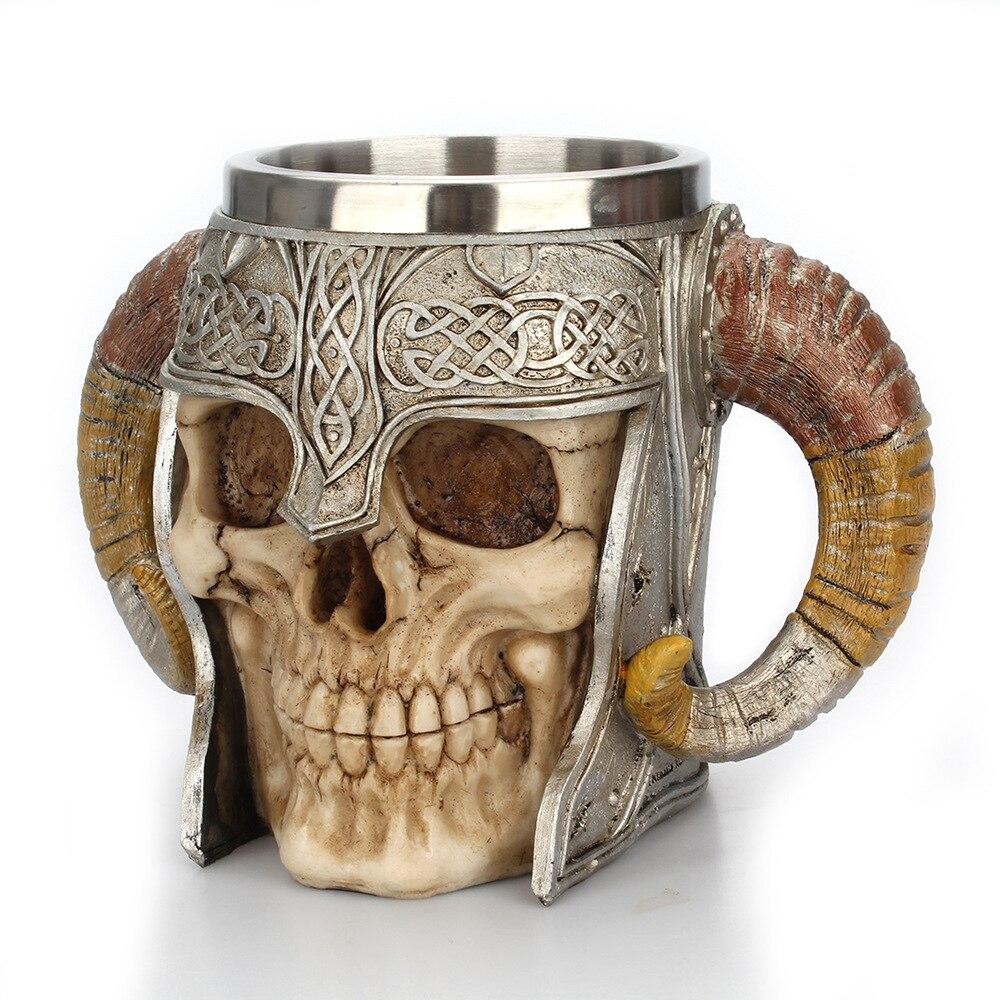 Tasse de crâne Stel en acier inoxydable 3D   15OZ, tasse Viking Ram Horned Pit Lord guerrier Beer Stein Tankard tasse de café tasse de thé, verres