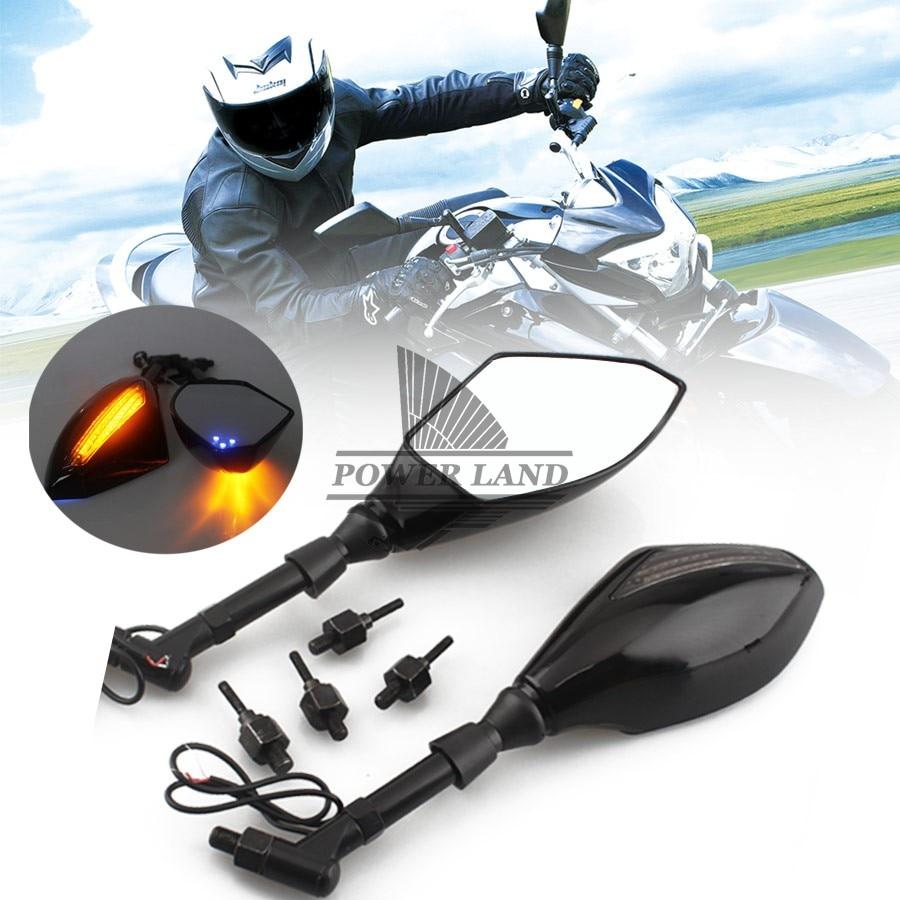 Espejos laterales retrovisores con indicador de motocicleta negro + señales de giro LED integradas ajuste Universal para bicicletas de calle