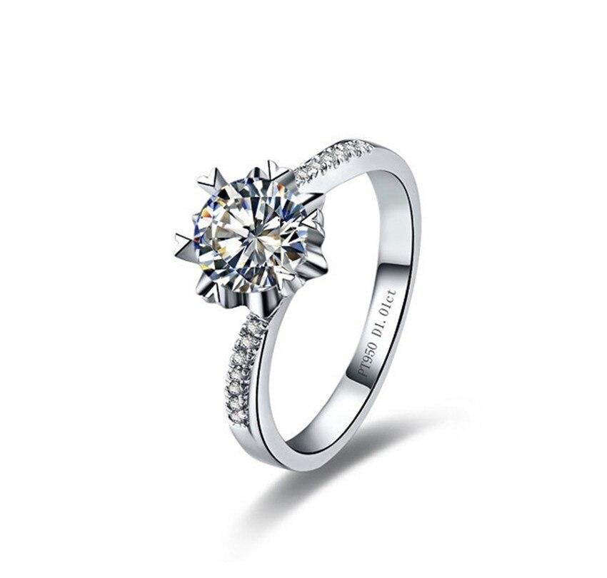 Jóia sedutora 0.5ct 5.0mm G-H corte redondo moissanite diamante anel teste positivo certificado real 925 prata esterlina anel
