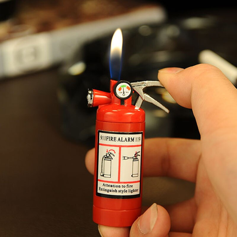 Creative Compact Jet GasLighter LED luz butano encendedor de Gas inflado extintor de incendios barra de Metal Juguetes Divertidos