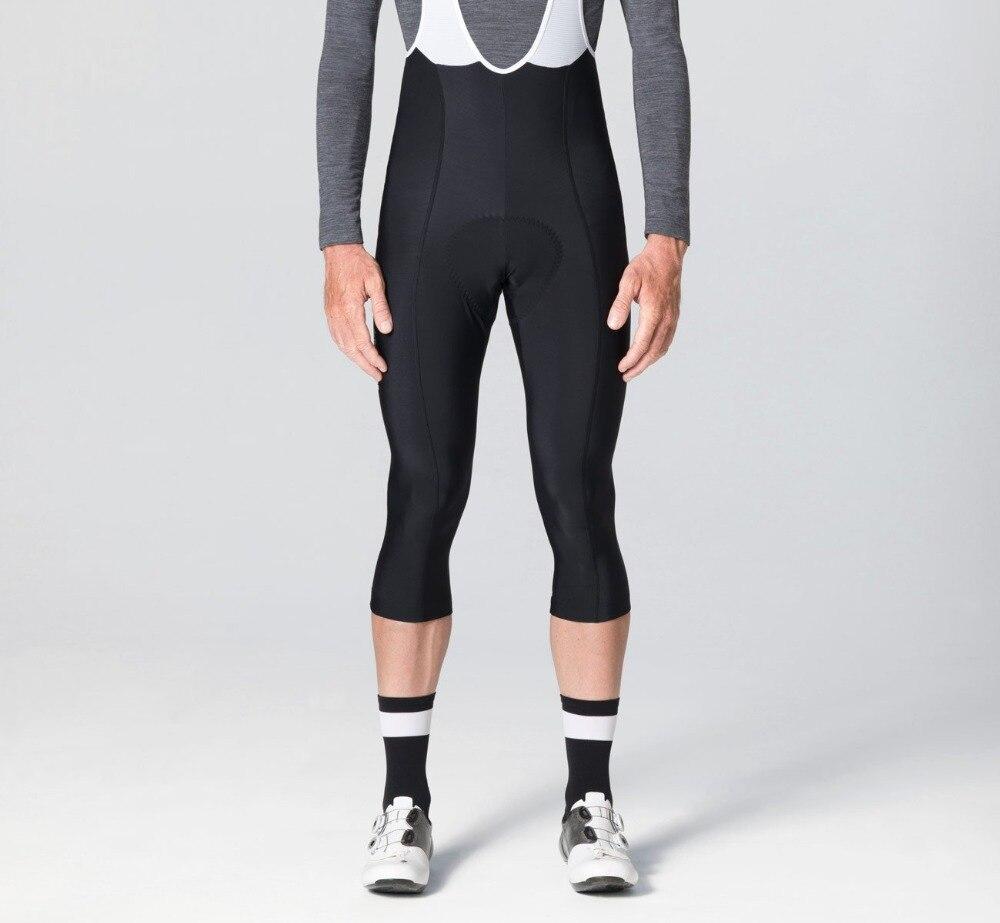 2018 3/4 Black Thermal fleece Winter Bib pants With High density Pad High quality fabric flatlock cycling bib pants free shiping