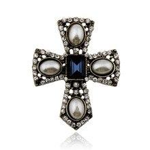 Mode Mini exquis camée simulé broches de perles pour les femmes Vintage cristal strass croix broche broches meilleur cadeau