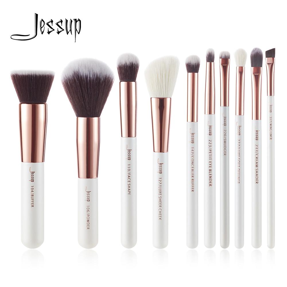 Набор кистей для макияжа Jessup, Профессиональный набор кистей для макияжа с жемчугом, белым/розовым золотом, набор кистей для основы, пудра, бу...