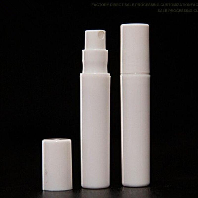 50 unids/lote de 2ml, 3ml, 4ml, 5ml, botella de Perfume de plástico rellenable, muestra de prueba, pulverizador de niebla, Color blanco y negro