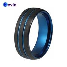 Tungsten Ring Men Black Blue Wedding Ring For Men And Women Domed Edges Comfort Fit