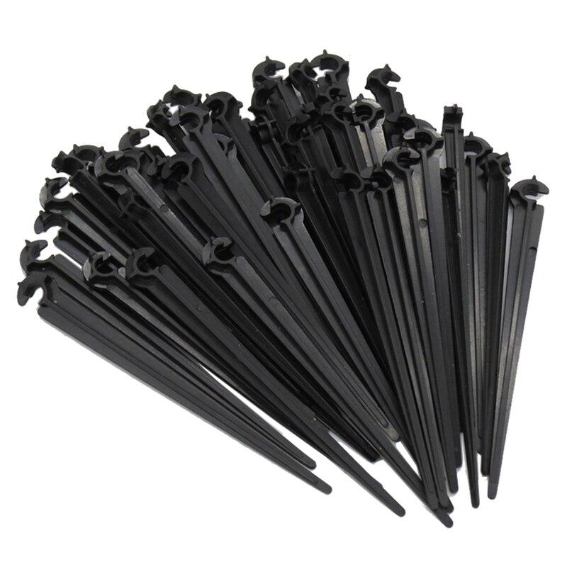 50 Uds. En forma de C jardín 4 / 7mm soporte de tubo de riego por goteo varilla fija accesorios de riego por goteo
