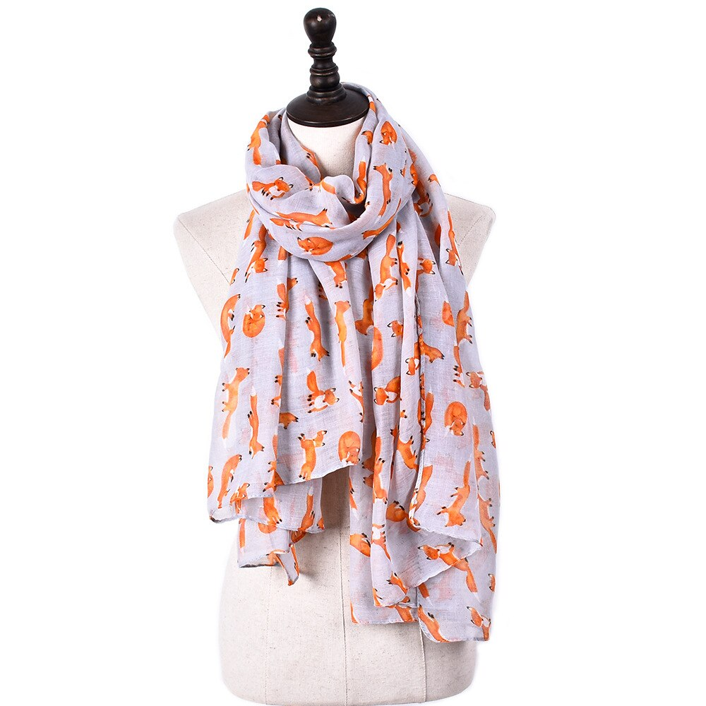 Guttavalli moda mujer sólido pequeño zorro estampado chal largo invierno rayas viscosa bufandas otoño femenino animales bufanda infinito