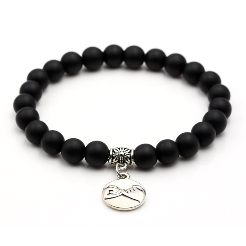 Matt Glass Stone Bead Bracelet Pinky Promise Charms 8MM Women Men Strand Beads Charm Bracelets Fashion Jewelry Gift