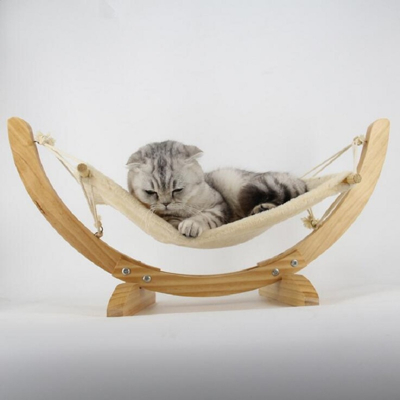 Wooden Handmade Cat Bed Cat Hammock Cradle Mat Swing Dog Bed Puppy Blanket Pet Product Cat Toy Sleeping Hammock Pet Nest multipl