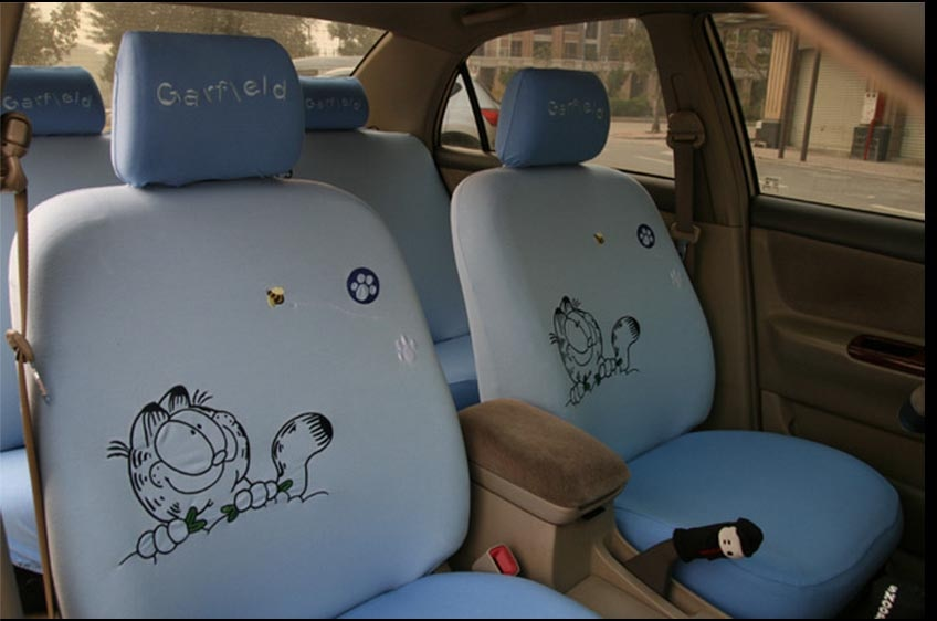 10pcs Cute Garfield Car Seat Covers Four Seasons Cartoon Universal Seat Decoration Protector for Women Girls Car-Styling