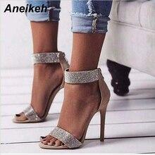 Aneikeh Rome Style été nouvelles femmes Sexy Beige rose couleur paillettes cristal fermeture éclair bout ouvert dos mince talons parti sandales chaussures