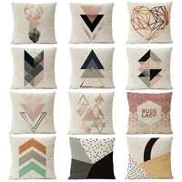 nordic copper gold geometric christmas pillow cover deer linen cushion cover home decorative throw pillows sofa pillow covers