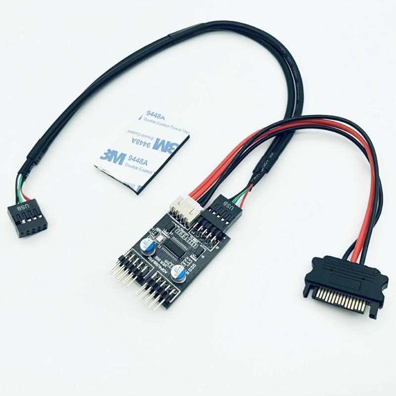 9Pin USB Header 1 to 2 Card Board Desktop 9-Pin USB HUB USB2.0 9pin Connector Adapter 30cm USB 9Pin Cable + SATA Power Cable NEW