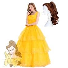 Erwachsene Prinzessin Belle Kostüm Schönheit und das Biest Cosplay Frauen Kleider Fancy Ballkleid Gelb Tiered Rock Halloween party