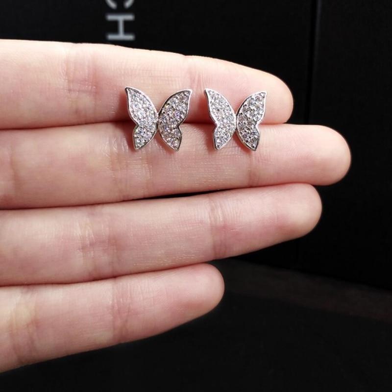 Korean Temperament Personality Creative Delicate Butterfly 925 Sterling Silver Fashion Female Stud Earrings SEA318